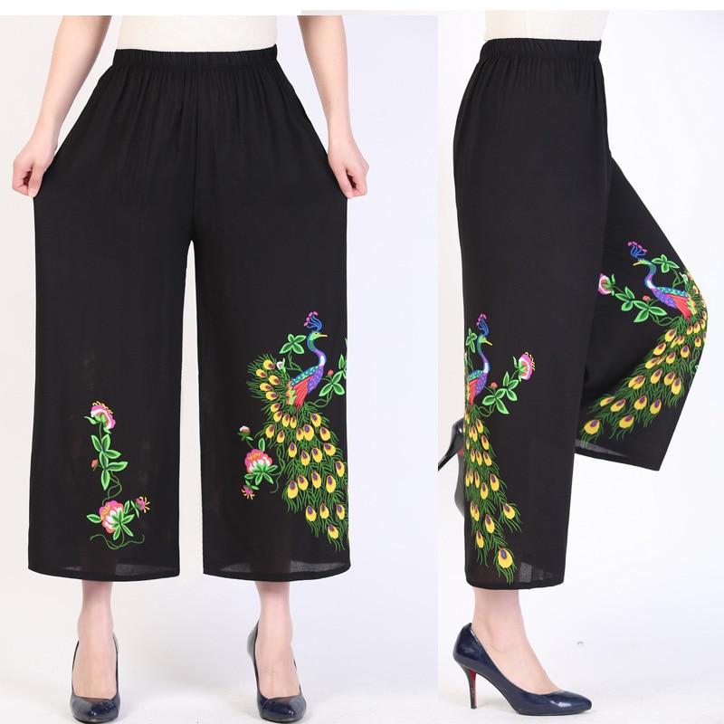 2019 Summer lady wide leg   pants   women exquisite Peacock lotus pattern beach high waist trousers sash   pants     capris   female