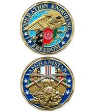 AFGHANISTAN-Operation Enduring Freedom Challenge Coin, Gold plated commemorate coins, Sample order, New style, DHL free shipping