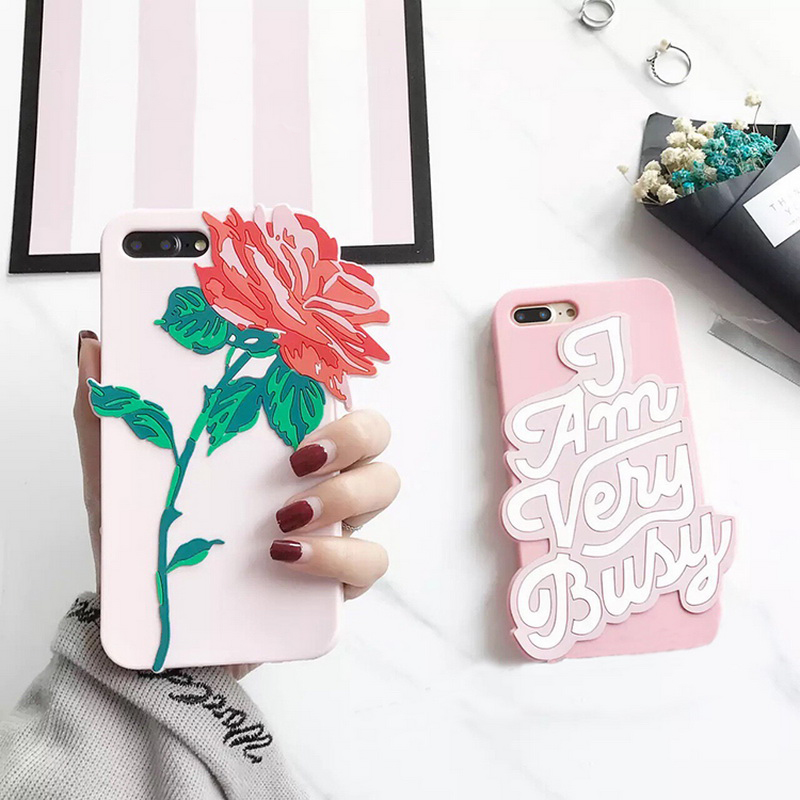 New 3D Flower Rose Letter Word Silicon Phone Bag Case for iPhone 8 7 7 Plus 6 6s 6Plus 6sPlus Pink Soft Silicone Back Cover Case