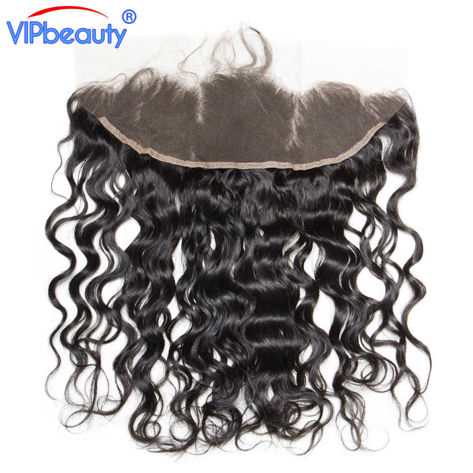 VIPbeauty индийская волна воды Реми волосы 13x4 уха до уха кружева пряди волос на заколках натуральные волосы Бесплатный Часть 130% плотность, коричневый кружево