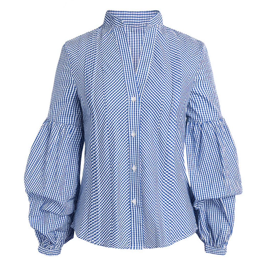 Sale Korean Fashion Plaid Puff Sleeve Blouse Women Shirts Vintage V