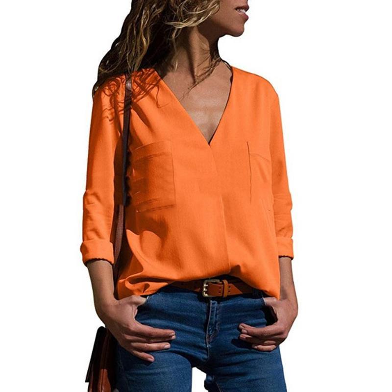 Blusas Sexy Blusa Militar Tops 2018 Mujeres Mujer Oficina blanco V naranja Larga verde Ws9828x Floja Camisas Otoño Cuello Gasa Camisa Manga Negro En w0646xW5Sq