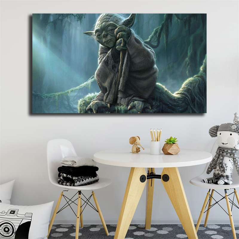Star Wars Yoda Wallpaper Canvas Painting Print Living Room Home Decor Modern Wall Art Oil Painting Poster Salon Pictures Artwork image