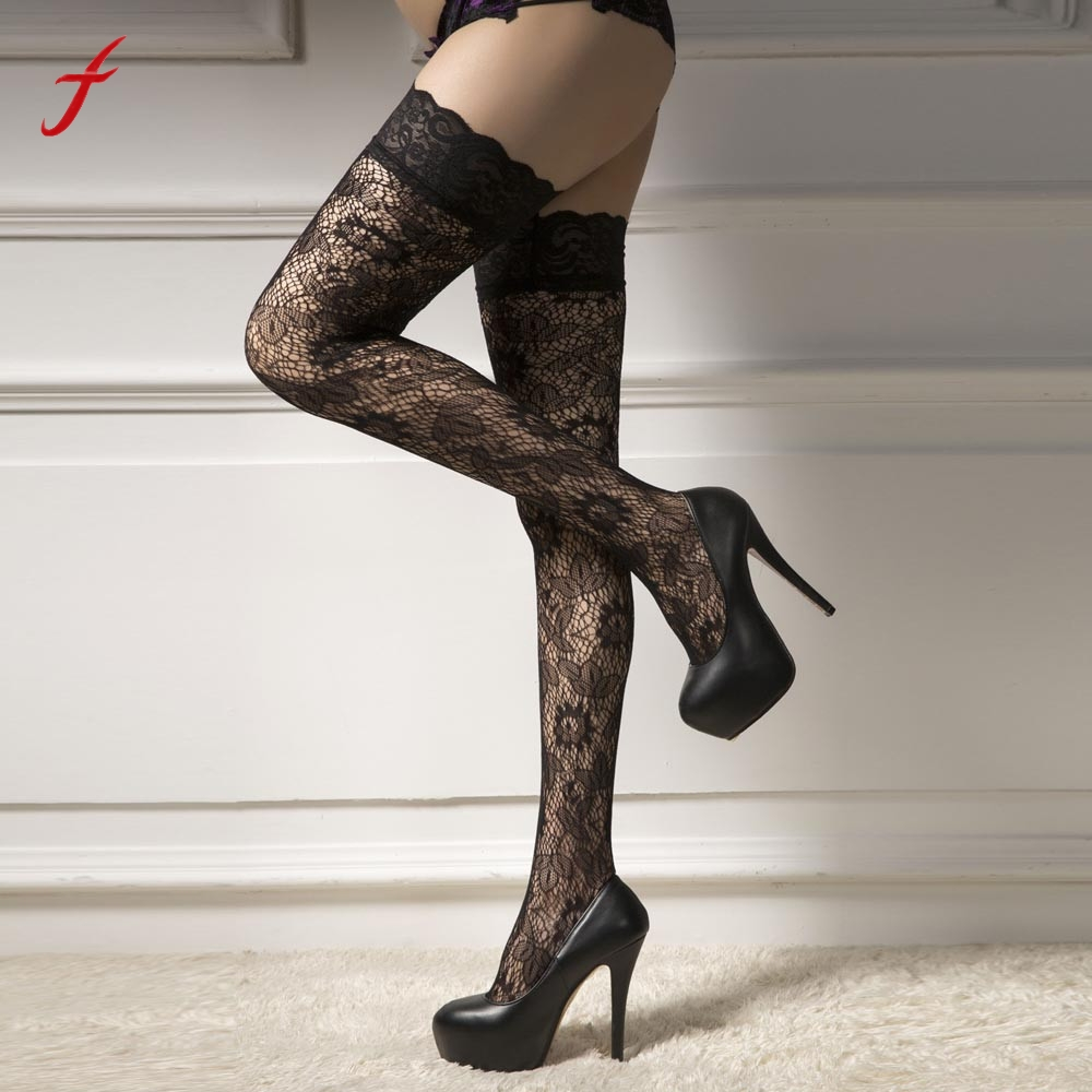 2018 New Fashion Sexy Women Net Sock Thigh High sock Lace Printing Hosiery Over Knee High