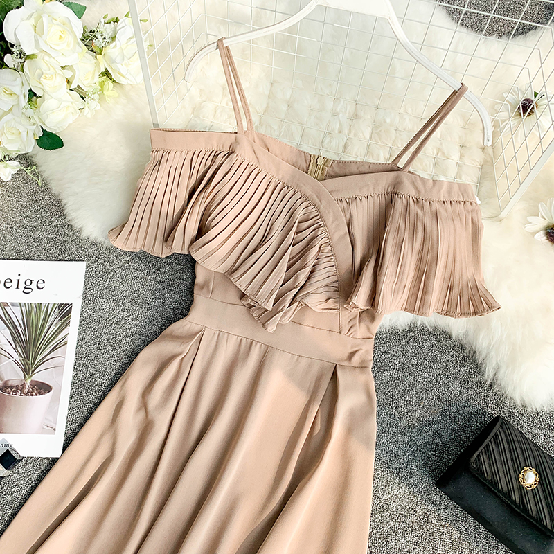 Neploe Sweet Spaghetti Strap Women Dress 2019 Solid Slash Neck Short Sleeve Vestido England Style Chiffon A-Line Robe 43088 12