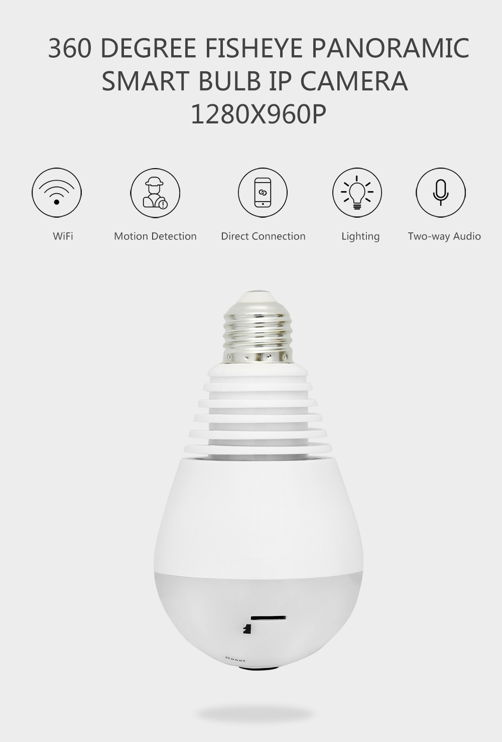 Wistino 960P Wireless VR Panoramic IP Camera Bulb Light Wifi FishEye 360 degree CCTV Surveillance Security Monitor Comone 1 (1)