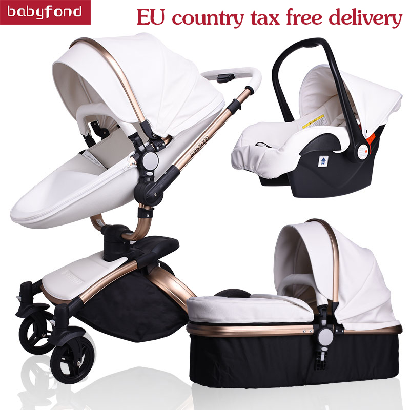 Babyfond baby stroller 3 in 1 baby strollers leather two-way suspension folding be car trolley Europe baby pram gift ALUONBabyfond baby stroller 3 in 1 baby strollers leather two-way suspension folding be car trolley Europe baby pram gift ALUON