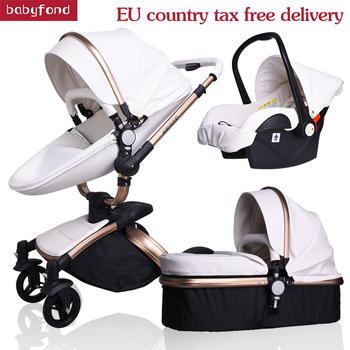 Babyfond baby stroller 3 in 1 baby strollers leather two-way suspension folding car trolley Europe baby pram gift ALUON цена 2017