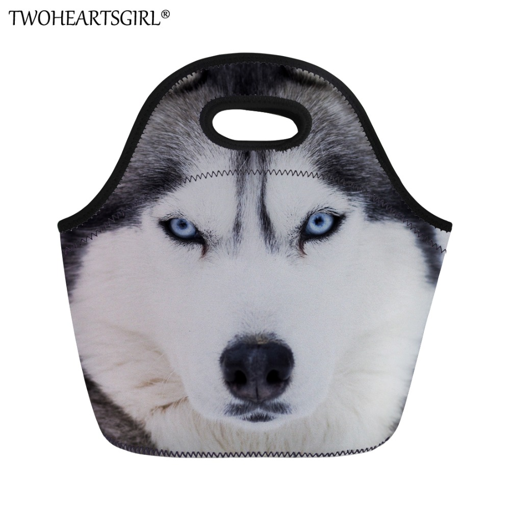 TWOHEARTSGIRL Cute Husky Printing Lunch Bag Women Work Lunch Box Casual Students Picnic Lunch Tote Kids Soft Food Lunch Handbags