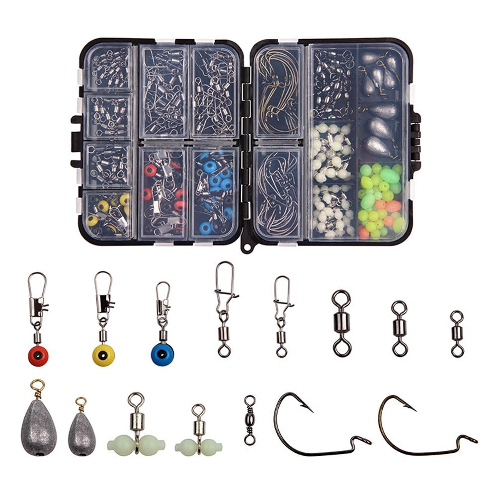 Hyaena 215Pcs/Box Fishing Tackle Accessories Kit Swivels Snaps Hooks Lead Sinkers Beads Box Set For Carp