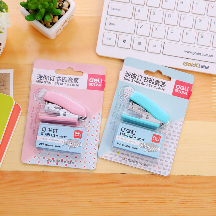 Fresh Style Geometric Patterns Stapler Set Escolar Papelaria School Office Supply Student Prize Birthday Gift