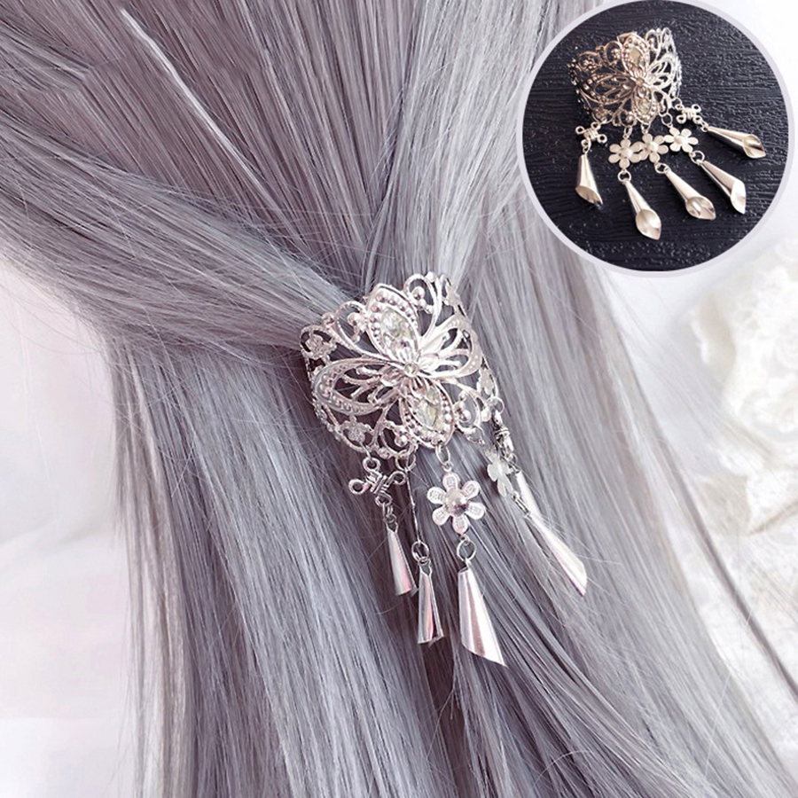Haimeikang Retro Hollow Alloy Hair Clips for Women Hairpins   Headwear   Crystal Tassel Pendant Hair Pins Claw Accessories Tool