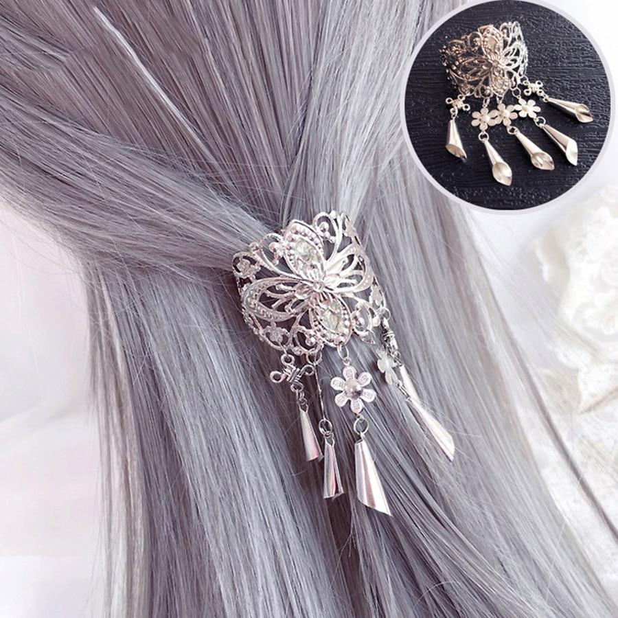Haimeikang Retro Hollow Alloy Hair Clips for Women Hairpins Headwear Crystal Tassel Pendant Hair Pins Claw Accessories Tool