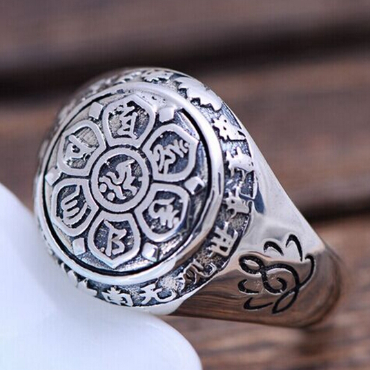 Ручной серебро 925 тибетских Ом Мани Падме Хум кольцо буддийский ОМ мантра кольцо Лотос Резные кольцо