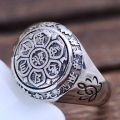 Handmade 925 Silver Tibetan OM Mani Padme Hum Ring Buddhist OM Mantra Ring Lotus CARVED Ring