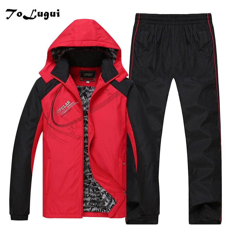 5xl 6xl survêtement hommes ensembles hiver Zipper survêtement vestes à capuche + pantalon deux pièces décontracté hommes vêtements Plus velours Sportswear
