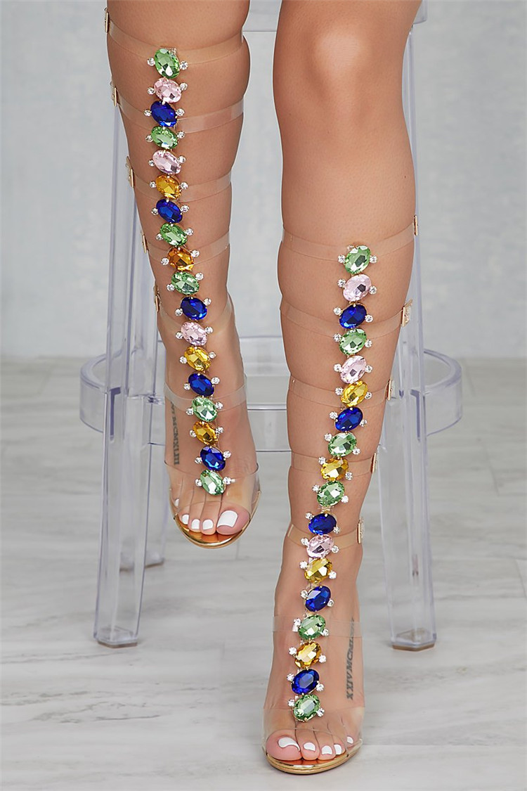 Rihanna High Heels Sandals Gladiator Summer Boots Jeweled Clear Pvc Straps Rhinestone Knee High Jelly Party Dress Shoes StilettoRihanna High Heels Sandals Gladiator Summer Boots Jeweled Clear Pvc Straps Rhinestone Knee High Jelly Party Dress Shoes Stiletto