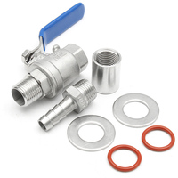 Stainless Steel Ball Valve 1 2 Barb Pipe Weldless Compact Kettle Ball Valve Homebrew