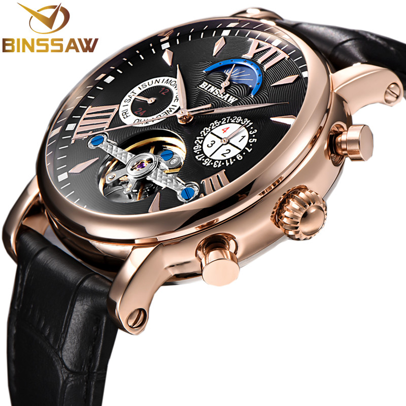 все цены на BINSSAW Men New Automatic Mechanical Tourbillon Watch Business Leather Luxury Brand Moon Phase Sports Watches Relogio Masculino в интернете