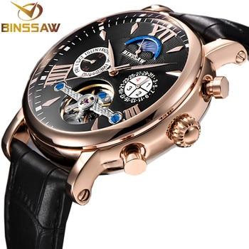 4fffb9c30d45 BINSSAW hombres nuevos automático Mecánico Tourbillon reloj de cuero de  negocios de la marca de lujo de la fase de luna de deportes relojes reloj  Masculino
