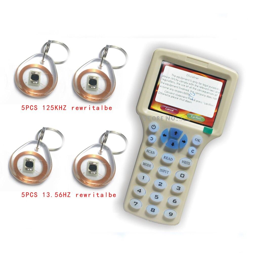 Updated version Handheld 125KHz 13 56MHZ RFID Copier Writer Duplicator with English encryption software 10pcs Writable
