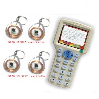 Updated version Handheld 125KHz -13.56MHZ   RFID Copier Writer Duplicator with English encryption software +10pcs Writable Cards