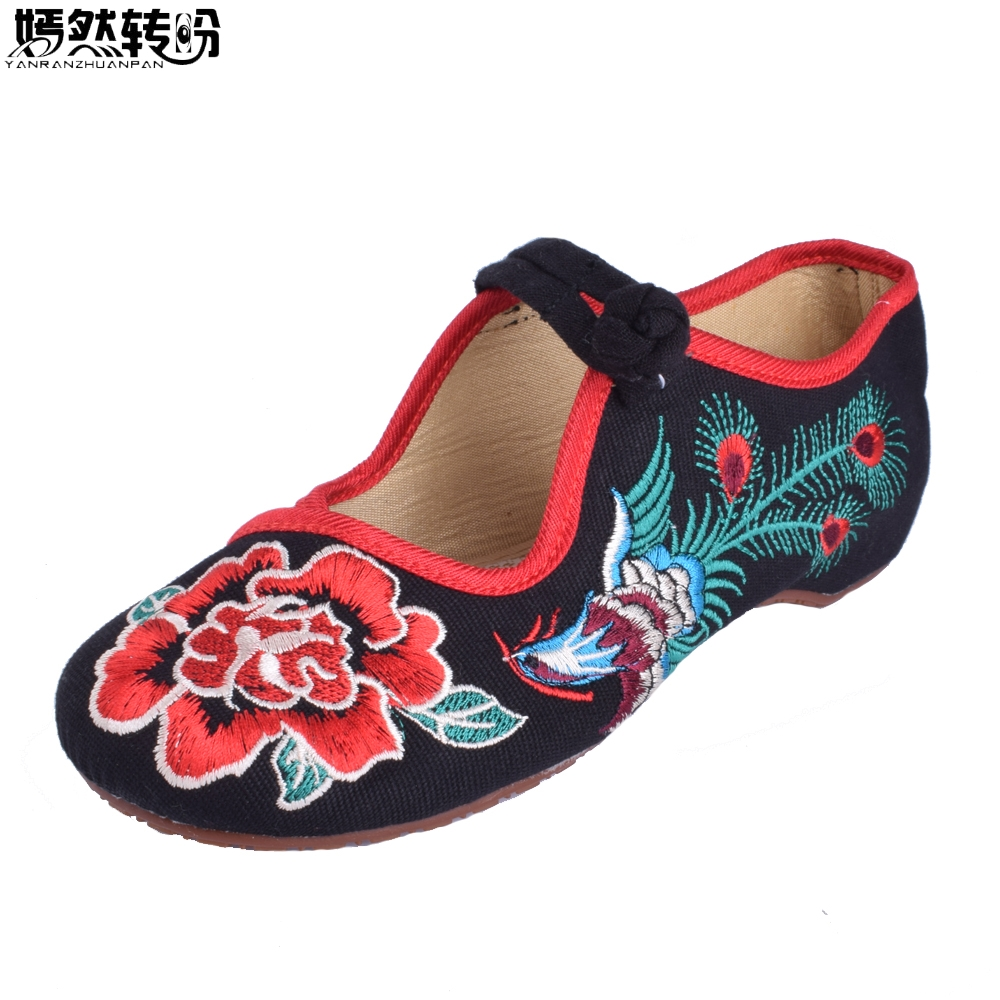 Chinese Women Flats Shoes Old Peking Mary Jane Phoenix Rose Embroidery Soft Sole Zapatos De Mujer Ballet Flat Plus Size 41 women flats old beijing floral peacock embroidery chinese national canvas soft dance ballet shoes for woman zapatos de mujer