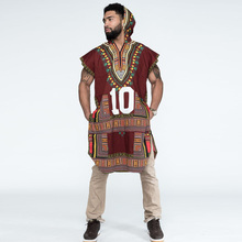 Fashion Dashiki African Costumes Plus size Ankara Ethnic Kitenge Tribal Hoodies Loose Sleeveless Print Fabric Cotton Clothing недорого