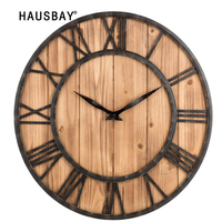 Hot Selling Round Wrought Iron Wall Clock American Style Solid Wood Clock Living Room Mute Hanging Clock Wall Decoration 05419