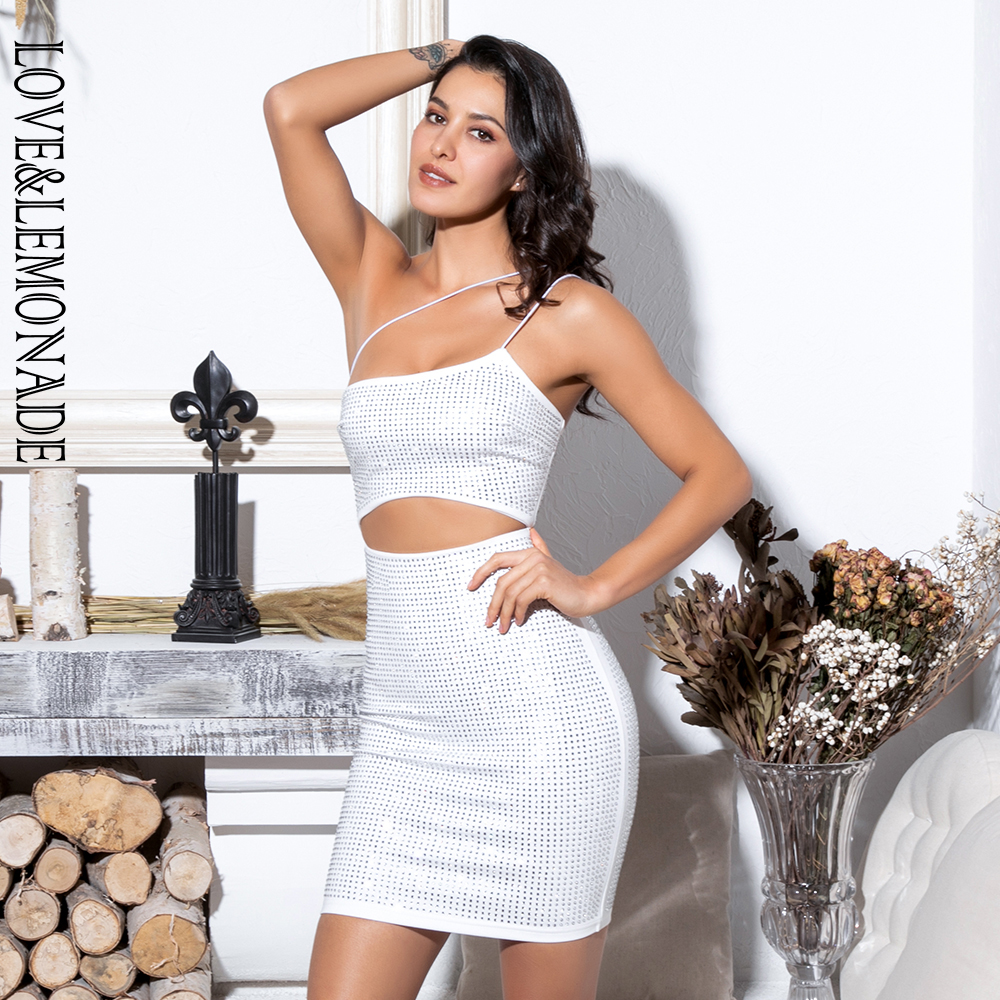 Love Lemonade Sexy White Cut Out Strapless Glue Diamond Decoration Bodycon Party Dress LM81583