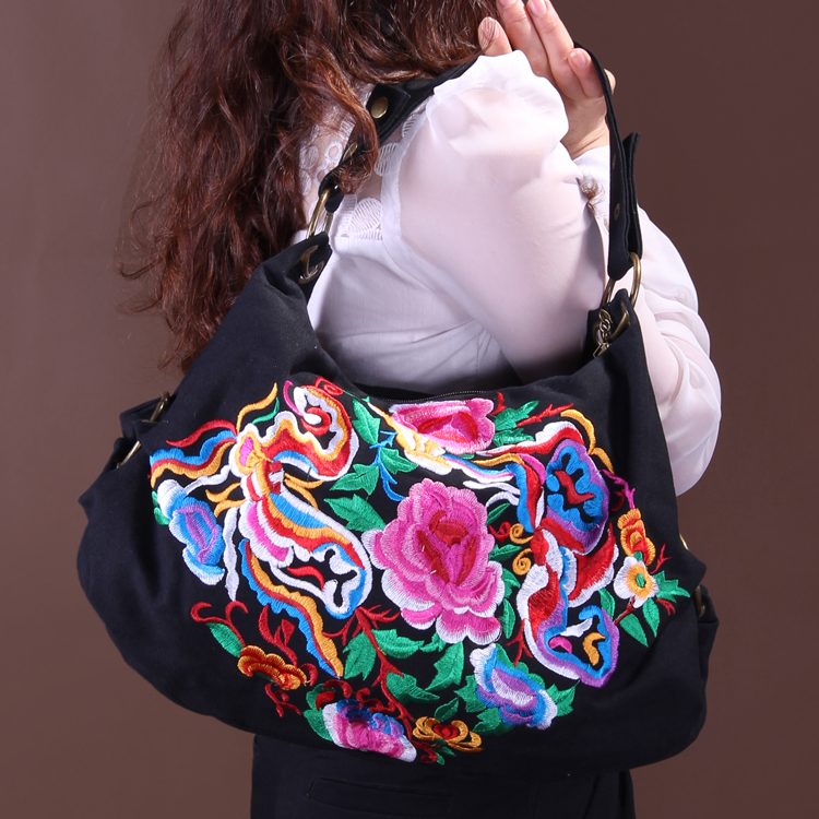 Free Shipping! 2016 Hot Sale National trend bags one shoulder cross-body women's canvas handbag embroidered vintage elegant bag galitzine платье до колена page 1