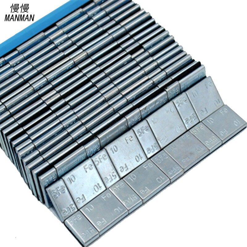 Prix pour 10 pièces poids d'équilibrage de roues roue poids (5 + 10) g * 4 = 60g surface de Zinc plaqué bleu bande
