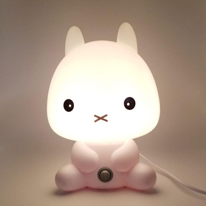 Rabbit Led Night Light for Children Baby Kids Gift Animal Cartoon Decorative Lamp Bedside Bedroom Living Room EU Plug 220V