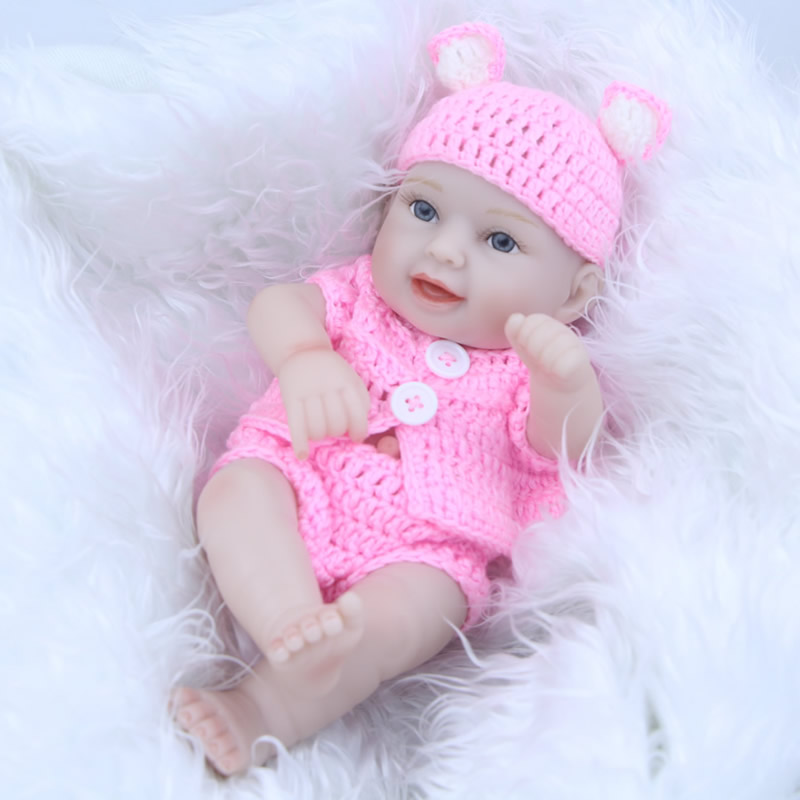 11 Inch Mini Smiling Reborn Baby Dolls Realistic 27 cm Full Silicone Vinyl Babies Girl Real Touch Brinquedo Baby Reborn DIY Toy