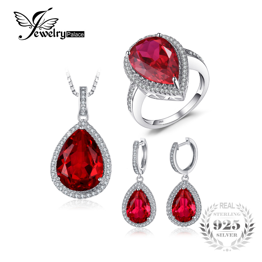 Jwewelypalace Pear Shape Pigeon Blood Created Ruby S925 Sterling Silver Ring Necklace Pendant Earring Women Bridal Jewelry Set цена 2017