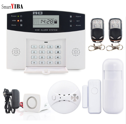 SmartYIBA Russian French Spanish Italian Voice Prompt Wireless GSM SMS Home Security Burglar Alarm System Fire Smoke Sensor french spanish english voice prompt wireless gsm sms pstn intrusion alarm system st iiib with pet immune pir sensor