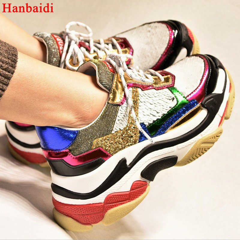 Hanbaidi Glitter Bling Women Casual Shoes Mixed Colors Waomen Platforms Shoes Street Styles Fashion Designer Lace Up Ultra Shoes