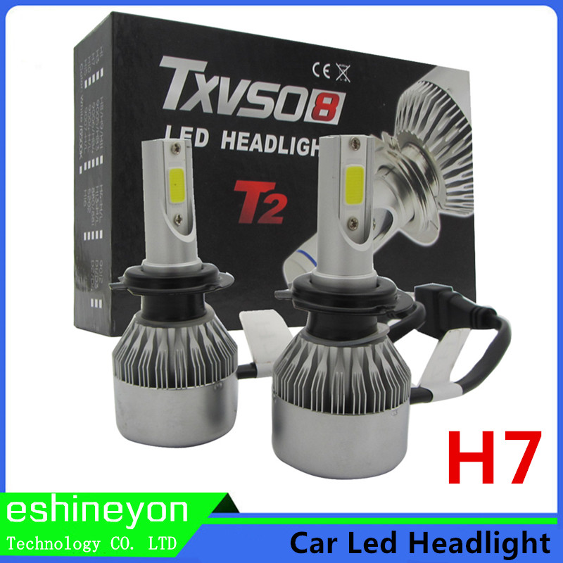 ФОТО 2016 Hot New 110W DC 12V COB Chips Car LED Headlight Conversion Kit H7 Replace Halogen HID Bulb Auto Driving Light Super Bright