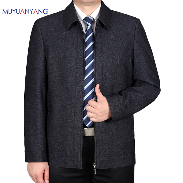099f64638c1 Mu Yuan Yang 2018 Spring Men s Jackets Turn-down Collar 50% Off Men Jackets  Business Casual Solid Color Coats And Jackets
