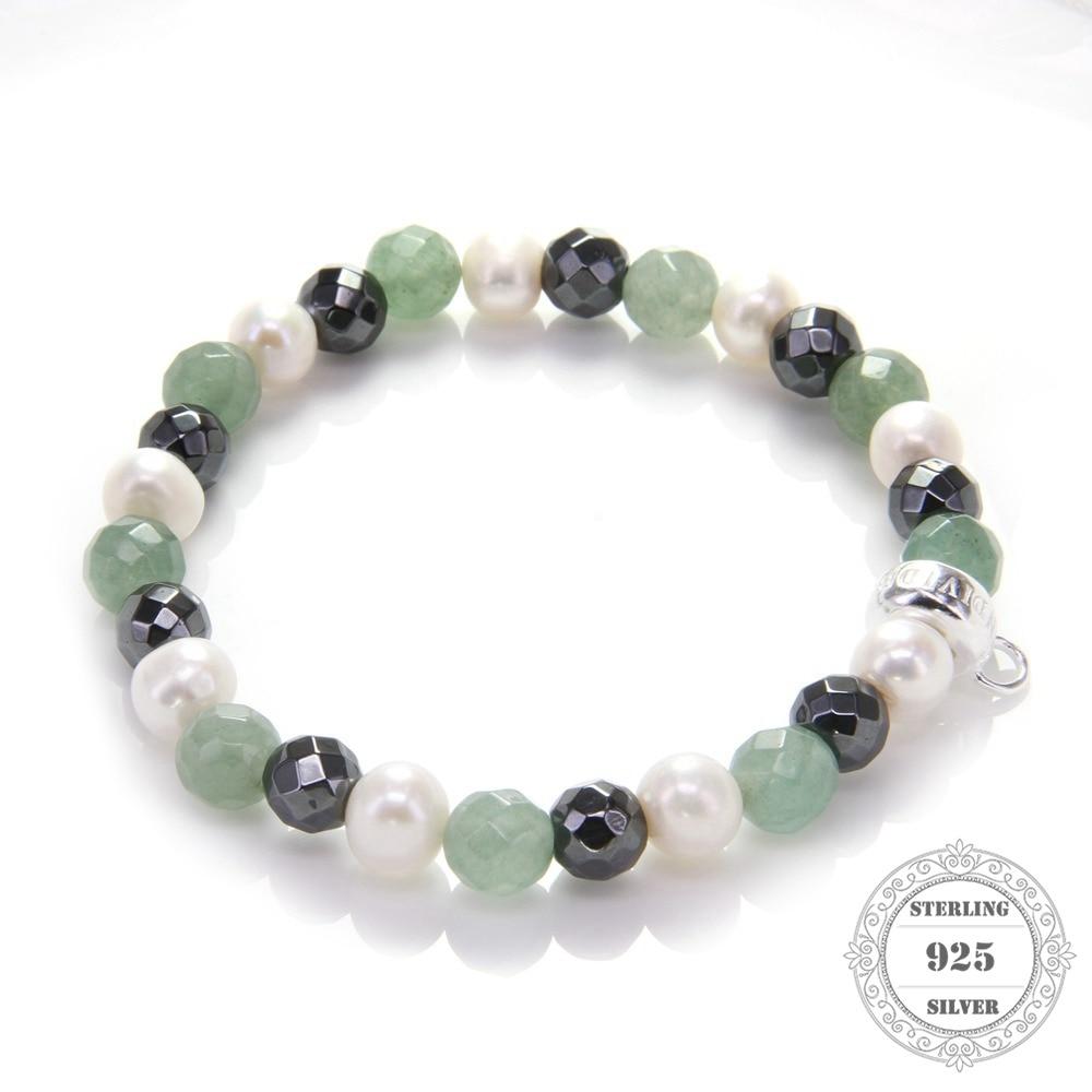 HEMISTON Thomas Green Chalcedony Pearl Bead Bracelet 925 Sterling - Joyas