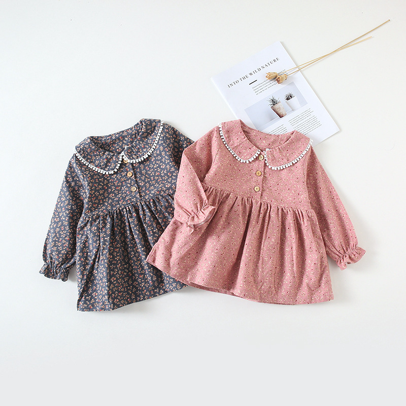 Kids Dress Autumn New Girl Lace Collar Fragmented Flower Dress Baby Long Sleeve Baby Dress