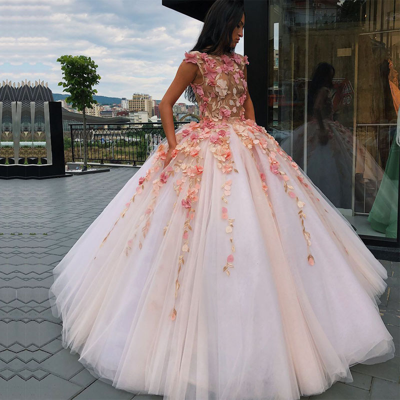 Long Elegant Evening Dress 2020 Puffy Ball Gowns Sheer Tulle Dubai Flowers Women Lace Arabic Style Formal Evening Gowns Evening Dresses Aliexpress