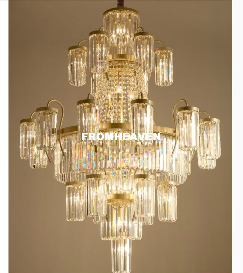 Modern Crystal Chandeliers Lights Fixture Luxury American Golden - Indoor Lighting - Photo 5