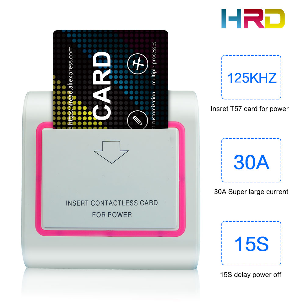Access Control Accessories Security & Protection Hiread Brand Insert Hotel Room Card Key Energy Saving Round Sliver Switch With 125khz T57 T5567 Em4305 Rfid Card