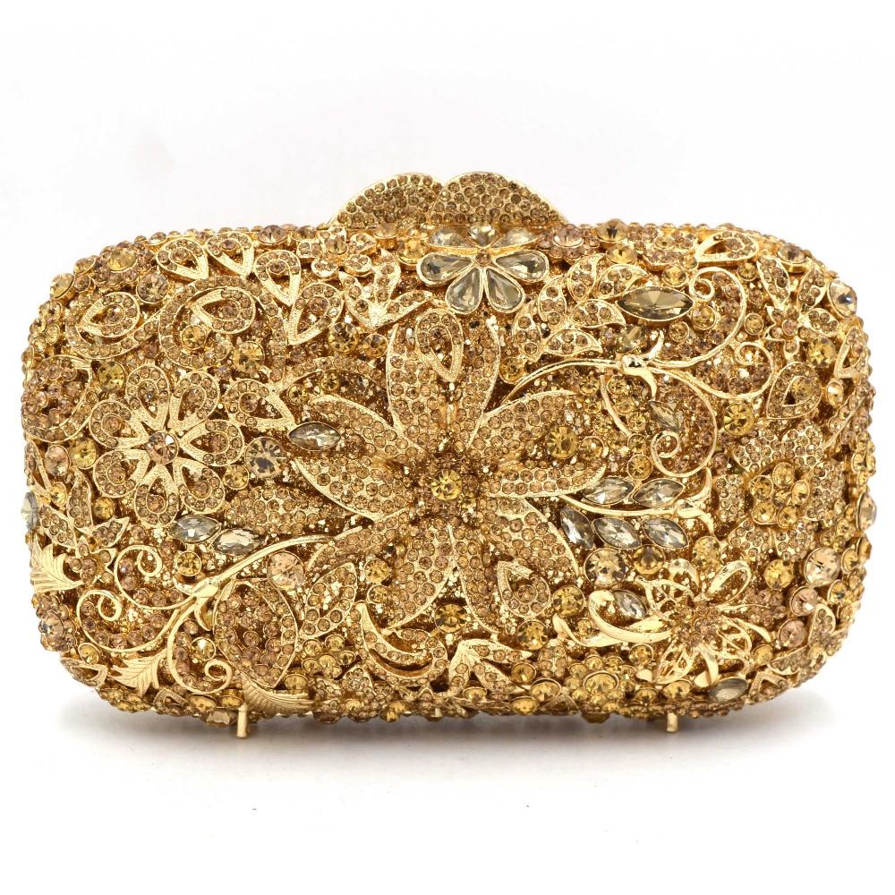 مصمم زهرة الشمبانيا النساء مخلب كيس الذهب مساء حقيبة السيدات محفظة SC524-في مقابض تعشيق من حقائب وأمتعة على  مجموعة 2