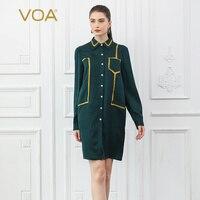 VOA шелк жаккард Длинная блузка Для женщин осень темно зеленый Прохладный негабаритных дамы Топы Военная футболка Свободная Повседневная ру