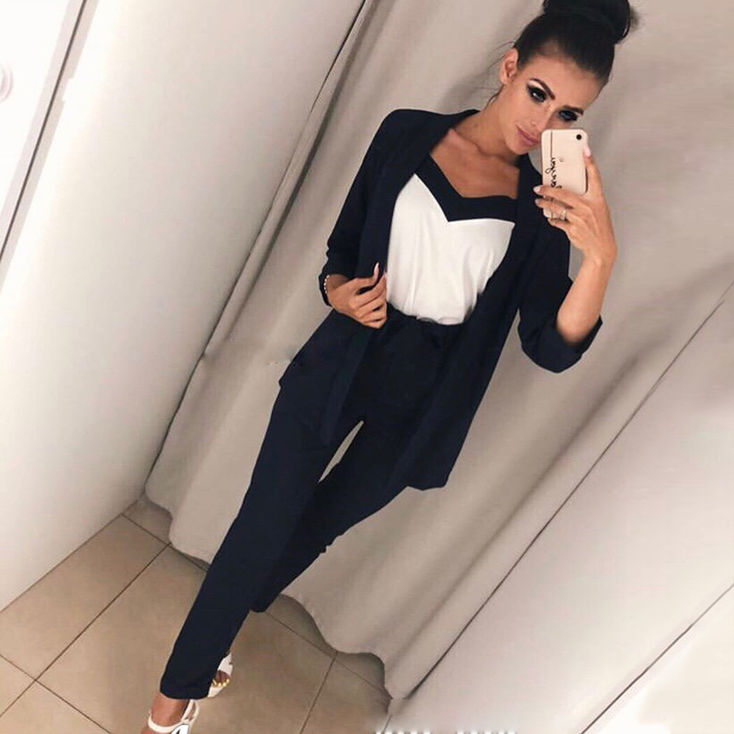 2019 Hot Sale Rushed Polyester Full None Suit 3 Piece Female England Simple Fashion Three-piece Sling Cardigan + Trousers
