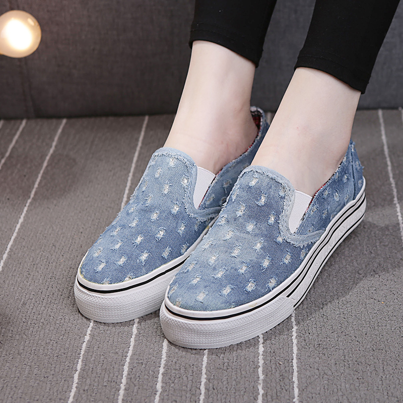 Korean female canvas shoes slip-on tide denim women shoes students loafer breathable zapatos mujer