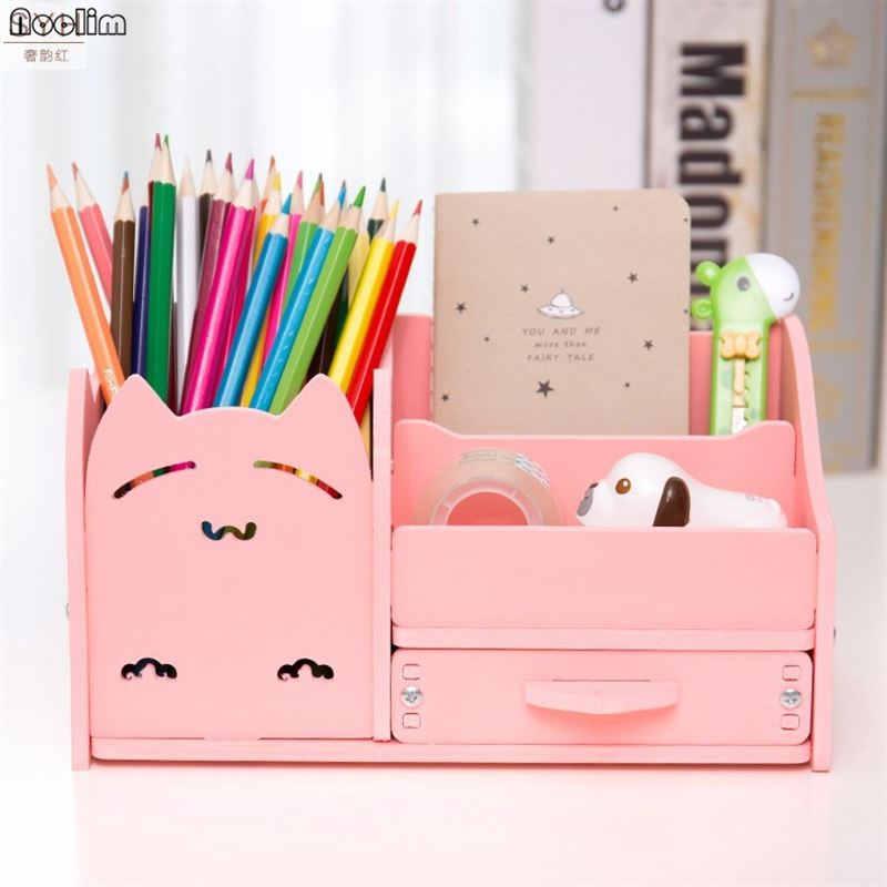 Pen-Holder Storage-Box Drawer Desktop-Ornament Office-Organizer Cosmetic Living-Room