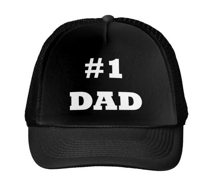 Happy Father's Day - Number 1 Dad Baseball Cap Trucker Hat For Women Men Unisex Mesh Adjustable Size Black White Drop Ship M-43 2017 new pizza embroidery baseball cap trucker hat for women men unisex adjustable size dad cap hats